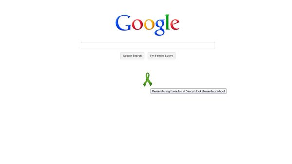 The web's most popular search engine, Google, pays respect to those lost in the Sandy Hook Elementary School shooting Dec.14.  (Source: Google)