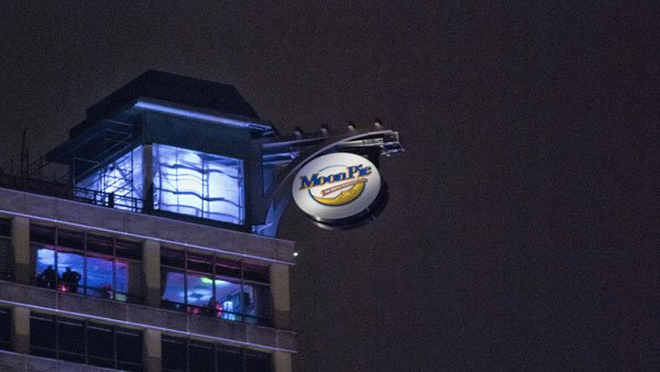 The 350 pounds and 12'  MoonPie is the main attraction in the NYE celebration of Mobile. (Source: Tad Denson/Myshots.com)