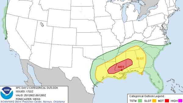 Severe weather is expected to hit Gulf States Christmas Day. (Source: NWS)