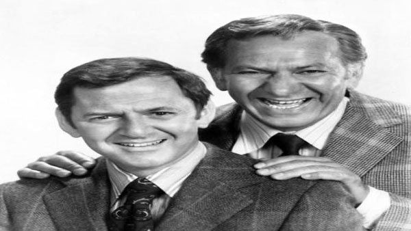 "A 1972 photo of ""The Odd Couple"" co-stars Tony Randall (left) and Jack Klugman (right). (Source: Wikimedia)"