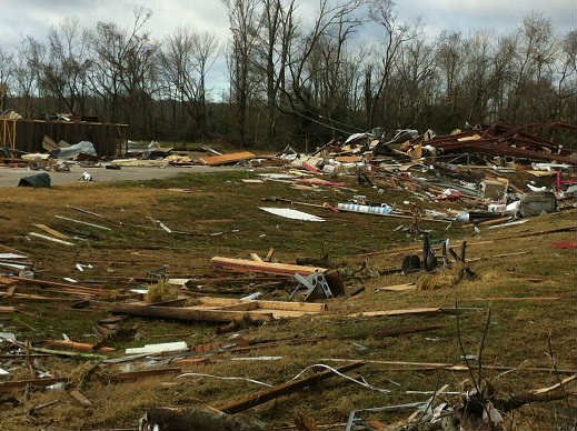 Storm damage in Houston County, TX. The National Weather Service reported at least three possible tornado touch downs. (Source: KTRE)