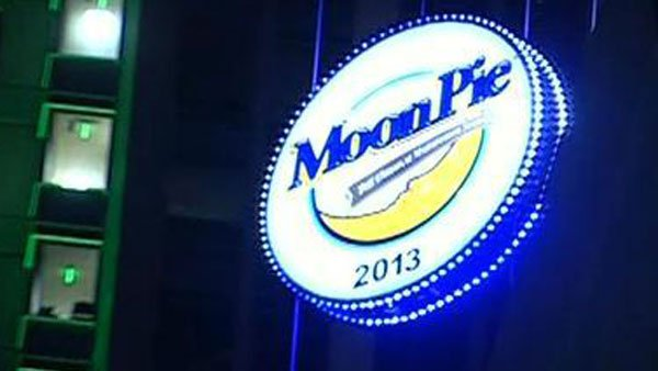 The iconic MoonPie is dropped from the 34th floor of Mobile's RSA BankTrust Tower, setting on 2012 and rising on 2013. (Source: WLOX)