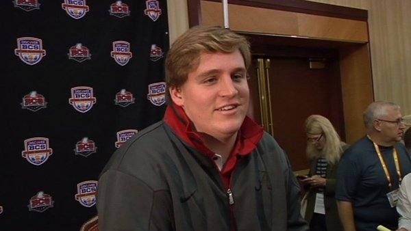 Alabama center Barrett Jones discussed the upcoming BCS National Championship game against Notre Dame on Thursday. (Source: WSFA)