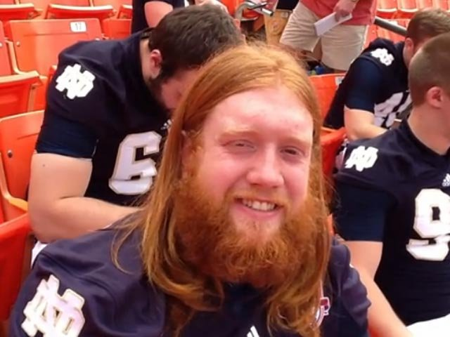Tony Springmann may be a reserve player, but he is the undisputed king of Notre Dame football's beard culture. (Source: Tom Ensey/RNN)