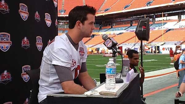 Alabama quarterback AJ McCarron, like many other players during Media Day, dutifully answered the same questions with equal conviction. (Source: Tom Ensey/RNN)