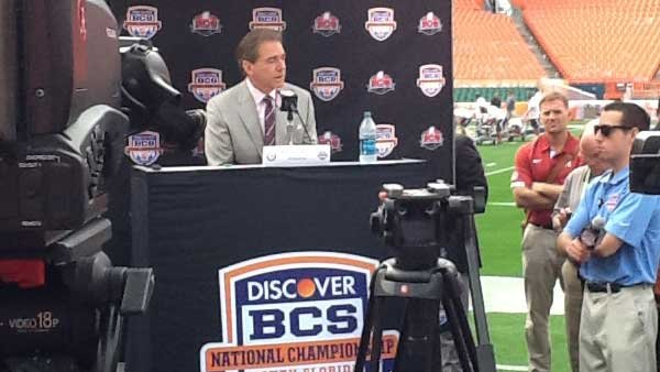 Alabama head coach Nick Saban speaks with reporters. (Source: RNN/Tom Ensey)