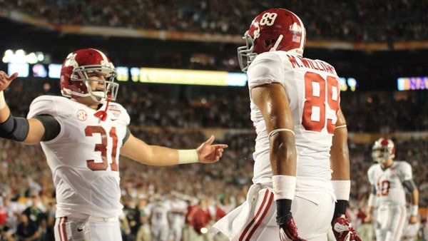 Alabama's Michael Williams (89) and Kelly Johnson (31) celebrate in the end zone after Williams scored a 3-yard touchdown late in the first quarter of the 2013 BCS National Championship game (Source: Dennis Washington/WBRC)