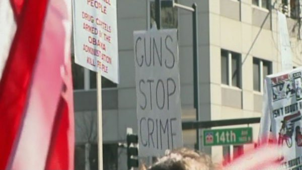 Pro-gun advocates rally in Denver Tuesday. (Source: KUSA/CNN)