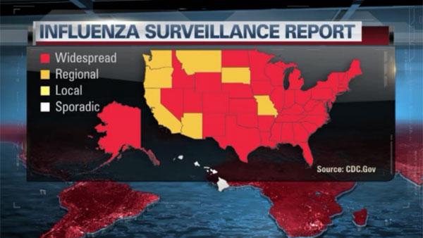 A flu epidemic has spread to 41 states much earlier than normal peak flu seasons. (Source: WEWS/WFM/CNN)