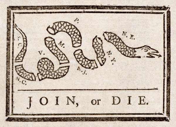 Benjamin Franklin is responsible for this political cartoon, which was used to encourage the American colonies to unite against British rule in 1754. (Source: Library of Congress)