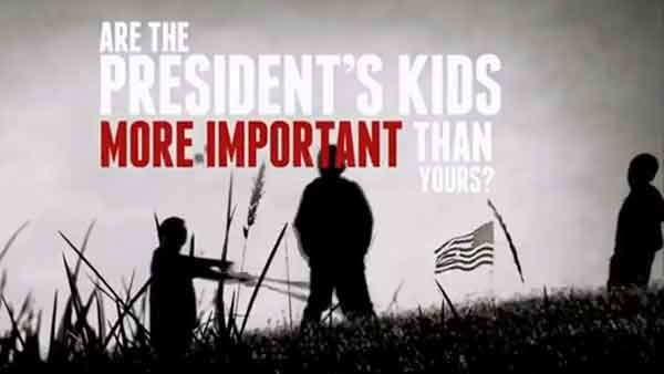 A video released by the NRA criticizes President Obama for his skepticism about placing armed guards in schools. (Source: YouTube)