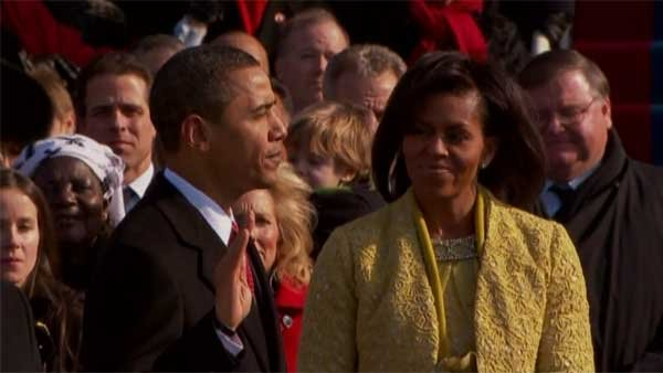 President Barack Obama takes the oath of office at the 2009 presidential inauguration. (Source: CNN)