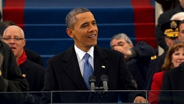 President Barack Obama giving his inaugural address after being sworn in. (Source: CNN)