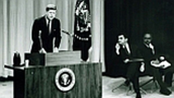 Pres. John F. Kennedy gives the first live televised presidential news conference Jan. 25, 1961. (Source: Wikipedia)