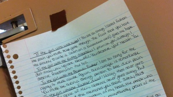 This anonymous letter that was found in a university bathroom stall has gone viral with its encouraging words. (Source: Imgur/chellylauren)