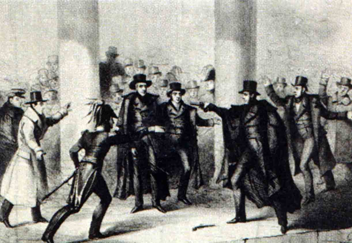 This etching depicts the attempted assassination of Andrew Jackson. (Source: Wikipedia)
