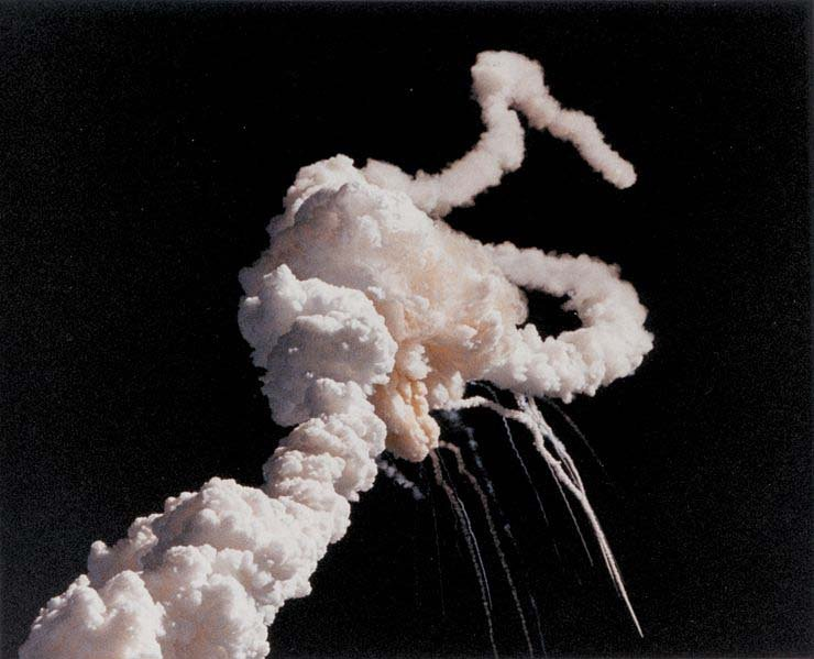 Space Shuttle Challenger explodes shortly after take-off. (Source: NASA/Wikipedia)