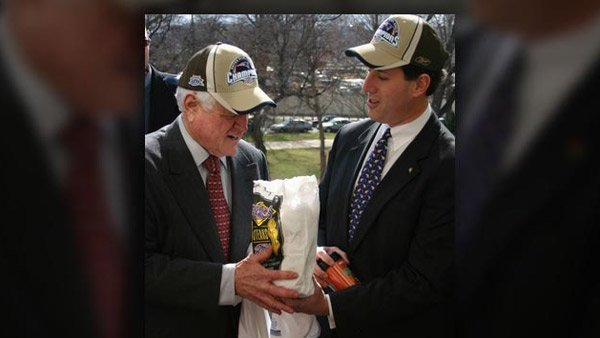The late Sen. Teddy Kennedy (D-MA) won the friendly wager he made with then-Sen. Rick Santorum (R-PA).(Source: Rick Santorum's office)