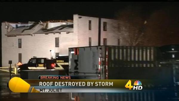 Severe weather damaged structures in Mount Juliet, TN. (Source: WSMV)