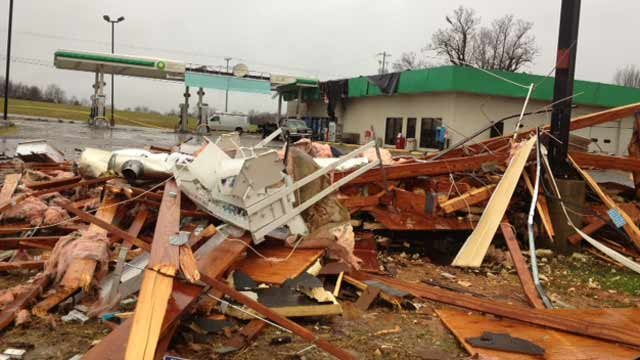 A roof blown off at a BP gas station in Springfield, TN. (Source: WSMV)