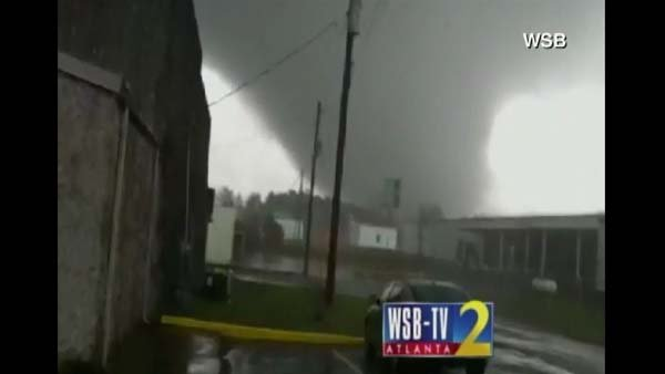 A tornado hit Adairsville, GA, killing one person. (Source: WSB/CNN)