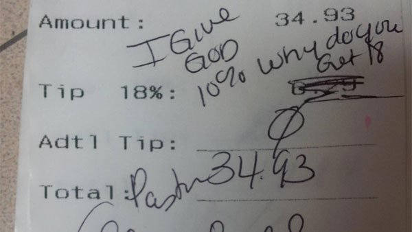 A co-worker of a stiffed waitress posted a pastor's comments left on a receipt at a St. Louis Applebee's. (Source: Reddit)