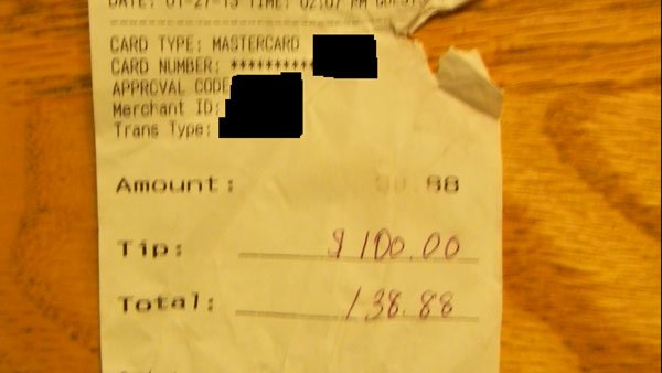 A Virginia woman, moved by a Sunday school story on service and those who serve, gave an unsuspecting waitress a tip she will never forget. (Source: Julia Davis)