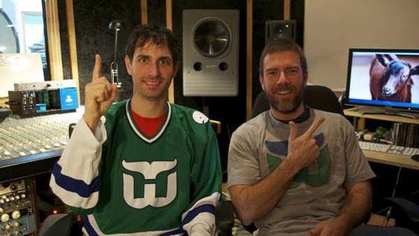 Ben Holst, left, and Jeremy Gilbertson indicate that their goat commercial is No. 1 (Source: Ben Holst)