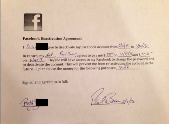 Daughter signs an agreement with her father to stay off Facebook for five months. (Source: Paul Baier)