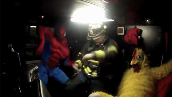 A trio of firefighters do their own take on the Harlem Shake. (Source: YouTube user cocksmith378)