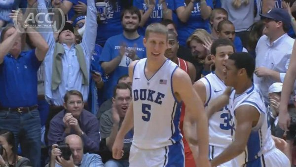 Mason Plumlee (5) enjoys a moment with his Duke teammates during their 98-85 victory Thursday against NC State (Source: ACC Digital Network)