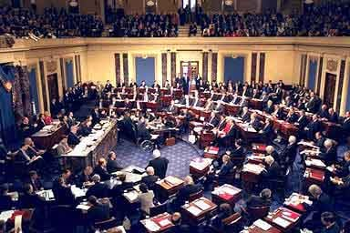 The floor of the Senate during the impeachment trial of President Bill Clinton. (Source: Wikipedia)