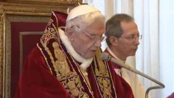 Pope Benedict XVI giving his formal resignation at the Vatican Monday. (Source: CNN)