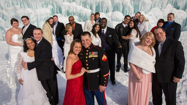 At Minnesota's Mall of America, 11 couples braved cold feet and cold temperatures to marry at the world's largest grown ice castle. (Source: Mall of America)
