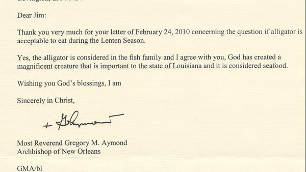 In a letter to his archbishop, Jim Piculas asked a question important to many southern Catholics: Can I eat alligator during Lent?  (Source: Jim Piculas/Insta-Gator Ranch and Hatchery Facebook page)