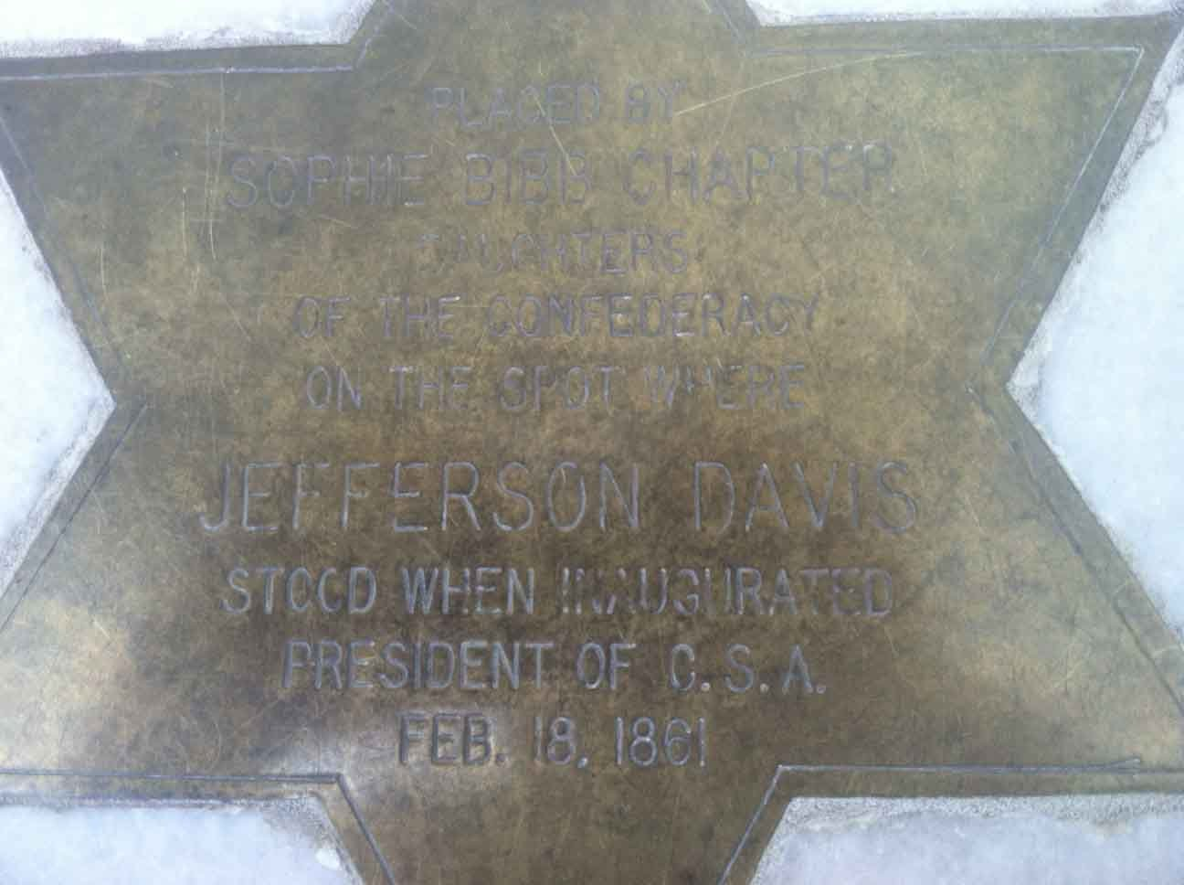This place where Jefferson Davis stood while being inaugurated is marked by this star at the Alabama State Capitol in Montgomery, AL. (Source: RNN/Brian Tynes)