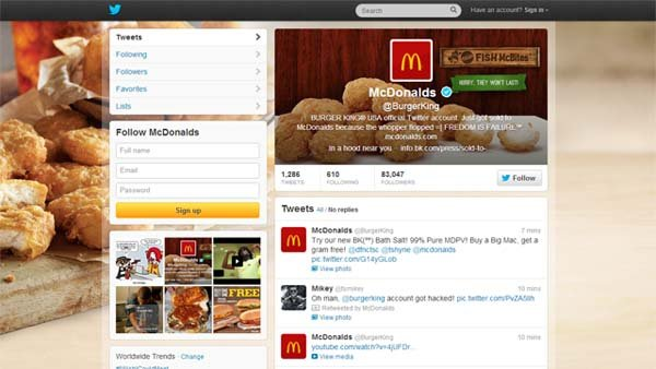 Hackers have changed Burger King's Twitter feed over to McDonalds graphics. (Source: Twitter)