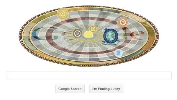 This screen grab shows the Google doodle honoring the 540th birthday of Nicolaus Copernicus.