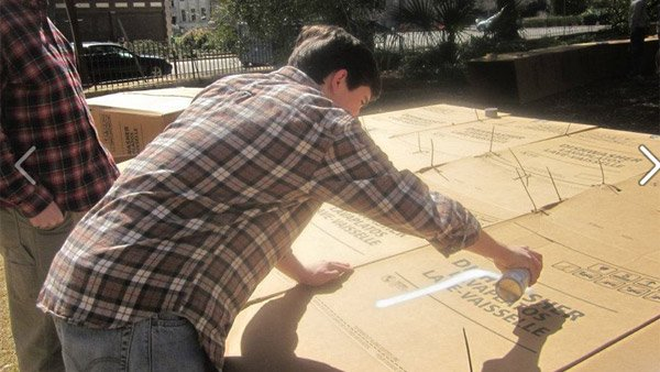 Trinity Episcopal students construct cardboard shelters and spend the night on the lawn of the church during 30 Hour Famine. (Source: Trinity Episcopal Cathedral, Columbia, SC)
