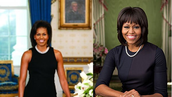 Michelle Obama's new portrait, on the right, showcases her new hairstyle. (Source: White House)