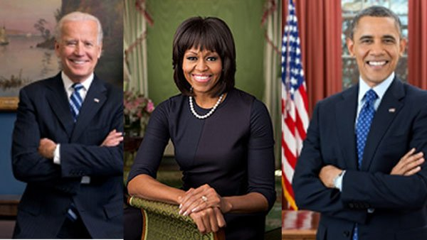 The new official portraits of Vice President Joe Biden, first lady Michelle Obama and President Barack Obama.(Source: White House)