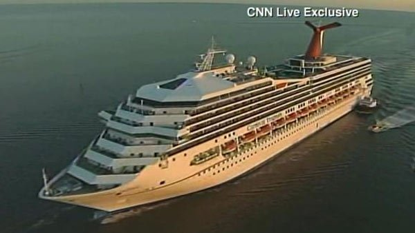 The Carnival Triumph as it was being towed into Mobile Bay on Feb. 14. (Source: CNN)