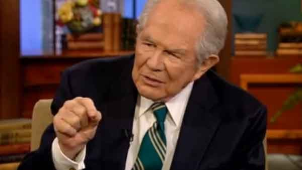 Televangelist Pat Robertson said it's not a bad idea to rebuke any spirits from items bought at a second hand store. (Source: YouTube)