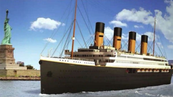 An image of the Titanic II sailing into the New York City Harbor as it would have in 1912. (Source: WCBS/CNN)