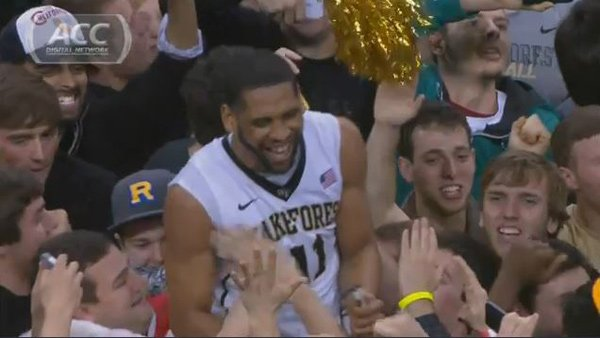 C.J. Harris and Wake Forest celebrate Saturday after knocking off No. 2-ranked Miami. (Source: ACC Digital Network)