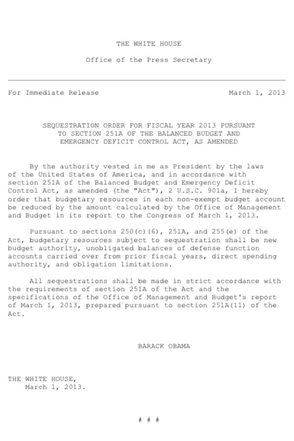 An image of the sequestration order, signaling the beginning of forced budget cuts. (Source: Buzzfeed)