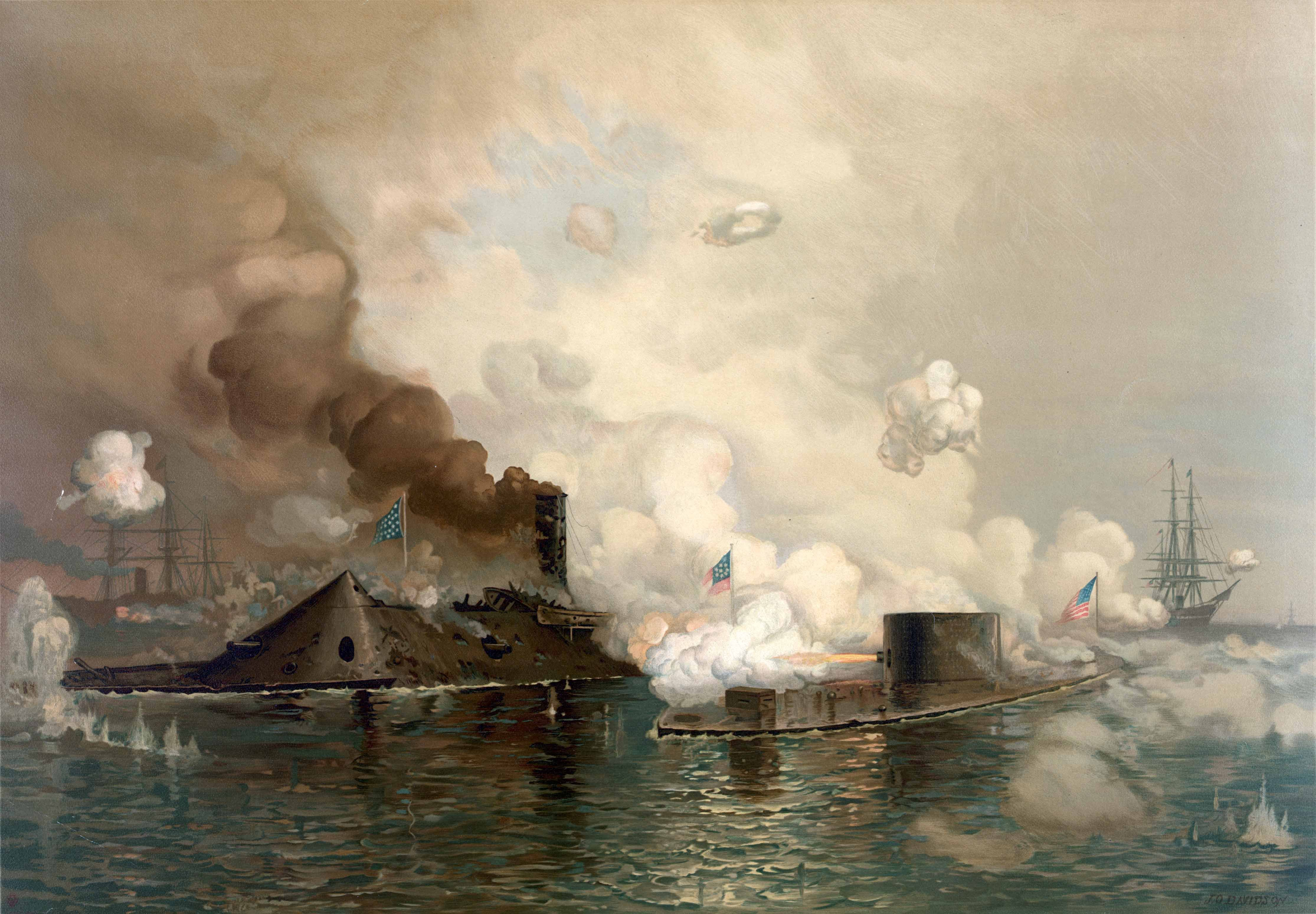 This lithograph depicts the Battle of Hampton Roads fought between the CCS Virginia and the USS Monitor. (Source: Library of Congress/Wikipedia)