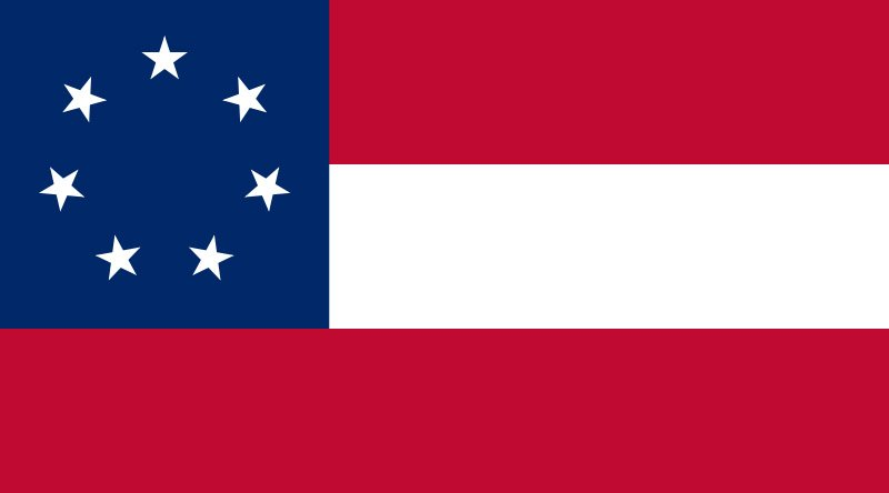 The first flag of the Confederacy was adopted March 4, 1861. (Source: Wikipedia)