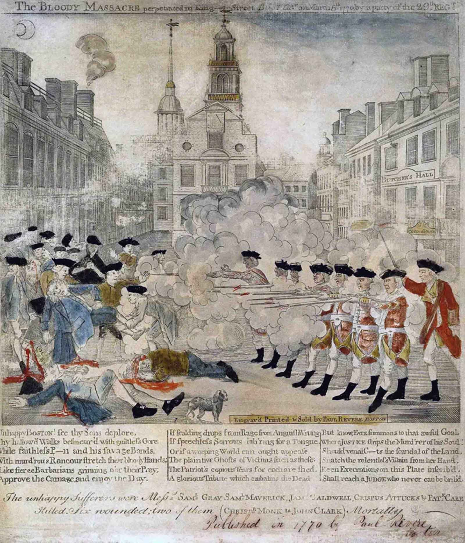 An engraving by Paul Revere depicts the Boston Massacre. (Source: Wikipedia)