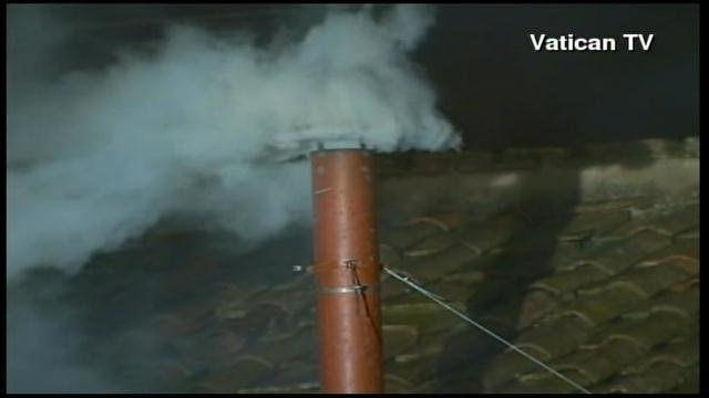 White smoke from the Sistine Chapel signals a pope has been elected. (Source: Vatican TV/CNN)